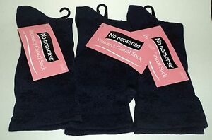3 Pr NO NONSENSE DARK NAVY Scattered Floral Casual Socks NWT Women