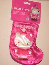 """Sanrio Hello Kitty Christmas Stocking Mini 7"""" & 2"""" Ornament w/ Candy Cane NWT"""
