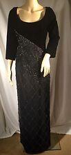 NEW, WOMEN'S DESIGNER BOB MACKIE BEADED LONG DRESS, BLACK, SIZE 6