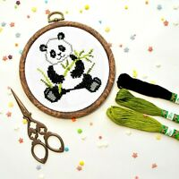 Panda Cross Stitch Kit For Beginners Easy Cute Animal Pattern DIY Embroidery KIT