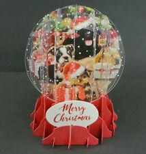 Christmas Puppies Christmas Greeting Card Snow Globe Pop Up Holiday Card