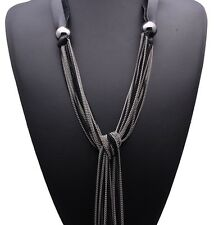 Sexy Haute Couture Silver Chain Long Tassel Lariat Necklace Black Leather collar