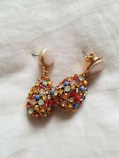 Zara Pear Drop Earrings Pearl Multicolored Stones Gold