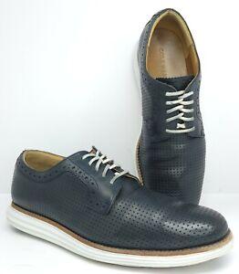 Cole Haan sz 10 M Lunargrand Blue Dimpled Leather Casual Oxford Shoe C12647