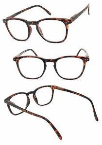 Retro Square Frame Full Lens Reading Glasses HIGH POWER UP TO +6.00 Spring Hinge