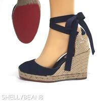 CHRISTIAN LOUBOUTIN Brigitte DENIM Espadrille Wedge Heels Sandals Shoe 36 6 $795