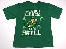 "Shamrock Boys T-Shirt ""Its Not Luck Its Skill"" Size Large 10-12 Green"