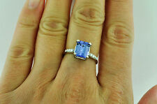 Tanzanite Solitaire with Accents White Gold 14k Fine Rings