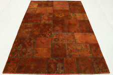 Orient Tapis Vintage Patchwork 240x160 Used Look orange rouille noué à la main