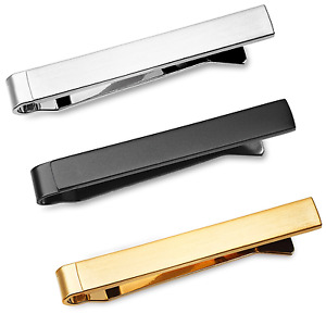 3 Pc Mens Tie Bar Clip Set for Slim Ties 1.5 Inch, Brushed Silver, Gold SET-12