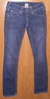 Women's Jeans Sz Small 25 True Religion Billy Low Rise Straight Med Wash 26X33