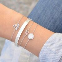 Women Fashion Zircon Bracelet Geometric Elegant Silver Bracelet Set Jewelry Gift