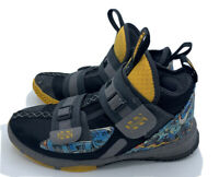 Nike Lebron Soldier 8 SZ 5Y Gray, Black, Yellow University High Top Sneakers