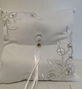 Wedding Ring Pillow Cushion Ring Bearer Rhinestone Embroided Pearl Heart Flower