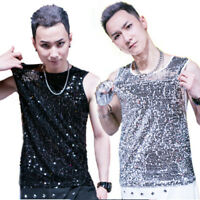 Men Sequins Tank Tops Camisole Vest Bling Shiny Punk Sleeveless T Shirt Tee Sexy