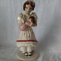 Vintage Victorian Girl Sitting 0n Chest Holding Doll Porcelain Figurine Japan