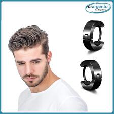 orecchini cerchio uomo acciaio inox cerchietti da in nero neri piccoli orecchino