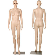 Nude Female Mannequin Plastic Realistic w/ Base Display Head Turns Dress Form