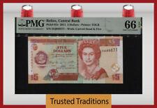 TT PK 67e 2011 BELIZE 5 DOLLARS BEAUTIFUL QUEEN ELIZABETH II PMG 66 EPQ GEM UNC!