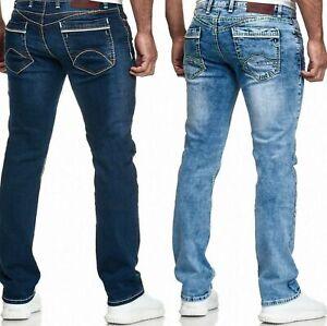 Herren Jeans Hose  Straight Cut Regular Stretch Dicke Nähte