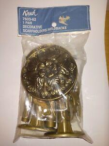 "Vintage Mid Century Mod  Kirsch Brass Curtain  Holdbacks 7603 Scarfholder 3.5"""