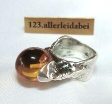 Original Oly Amber Ring 835 Silver Monika & BURGHARD OLY Modernist/AQ 388