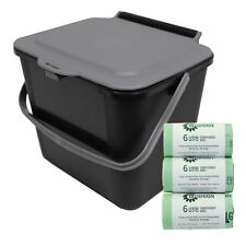 5L Black & Silver Grey Kitchen Compost Caddy/Food Bin & 150x 6L Compostable Bags
