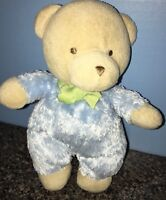 Carters Pretty Blue  Plush Teddy Bear Rattle With  Bows Lovey So Sweet Cuddly