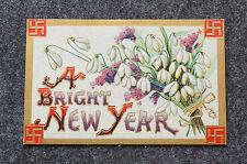 Vtg Happy New Year Holiday Good Luck Swastika Sign Postcard