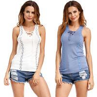 Women Summer T-Shirt Tanks Ärmellose Oberteile Schnürausschnitt Schnürweste