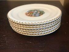Set of 6 - The Harker Pottery Co USA 22 KT. Gold Trim Porcelain Plates