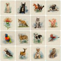 39 NEW! Country Creatures Animal Linen-Look Cotton-Rich Fabric CUSHION PANELS.