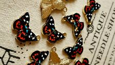 Butterfly charms 3 gold and enamel pendant charm jewellery supplies
