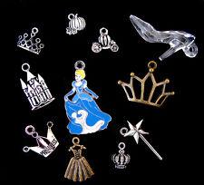 11pcs Disney Cinderella Princess Pendant Charm GLASS SLIPPER Silver Bead Enamel