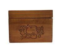 Vintage Kitchen Recipe Wooden Mini Small Storage Index Card Box Food Engraved