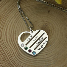 Personalized Mom's Jewelry Silver Birthstone Necklace Custom Gift for Mom