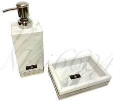 HOTEL BALFOUR Bath Bathroom SILVER WHITE MARBLE SOAP DISH LOTION PUMP DISPENSER