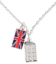 Doctor Who TARDIS Union Jack NECKLACE New BBC Police Call Box Phone Booth