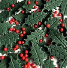 Noël Gâteau Toppers CupCake Décorations Comestibles Holly Feuilles et baies rouges
