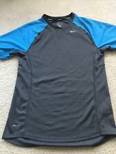 Men Nike Miler Dri Fit Crew T-Shirt Running Gray & Blue Small