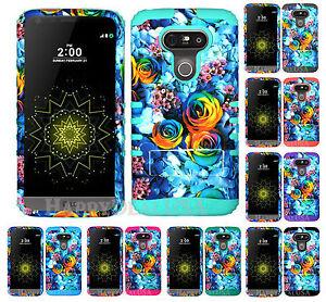 KoolKase Hybrid Impact Silicone Cover Case for LG G5 - Rainbow Rose Flower 20