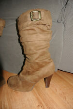 Skechers Heeled Boots Slouch Brown Suede Tan Microfiber EUC Worn Once Cute 5.5