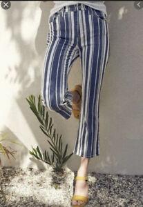 Women's Lucky Brand High Rise Bridgette Mini Boot Jean Perry Stripe Blue Size 10