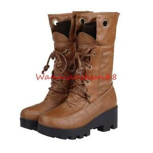 Womens British Style Round Toe Thick Fur Combat Mid-calf Boots Shoes