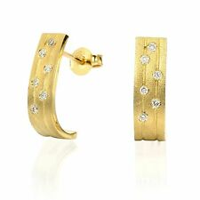 14k brushed yellow gold diamond designer earrings  0.12ct round H/SI2