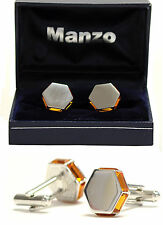 New Men's Cufflinks Cuff Link Rhinestone Formal Wedding hexagon Gold Yellow #22