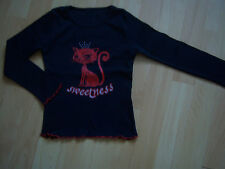 Tee-shirt noir/rouge fille 3-4 ANS motif chat