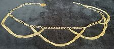 """Vintage Gold-Tone Women's """"Triple-Chain-Swag&# 034;Chain Belt 30"""" with British Coin"""