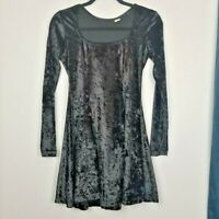 Vintage women's black velvet goth punk Witch  fit n flare Dress 80s 90s small