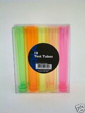 10 x Flourescent Neon Plastic Party Test Tube Shot Glasses